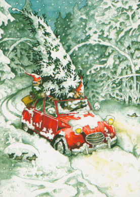 Frauen und Weihnachtsbaum im Auto