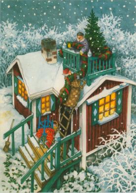 Frauen schmücken Haus für Weihnachten