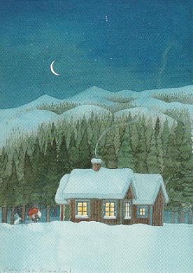 Zwerg bei Hütten im Schnee